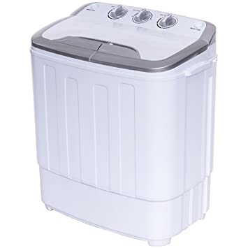 Giantex Portable Compact 13 Lbs Mini Twin Tub Washing Machine Washer Spin  Dryer (Grayu0026White)