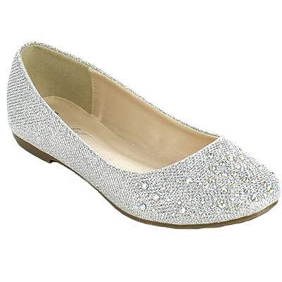 Bonnibel Great-5 Womens Round Toe Sparkling Glitter Slip On Ballet Flats   Flats