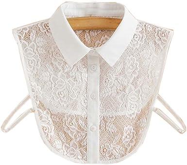 Moda Cuello de Encaje Desmontable Fake Collar All-Match Falsa Media Camisa para Mujeres, 08: Amazon.es: Ropa y accesorios