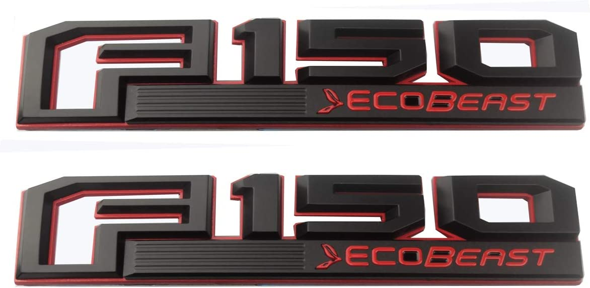 2pcs F150 Ecobeast Emblems Right and Left Side Fender 3D Badges Logo Replacement for F-150 Genuine Parts Black Red