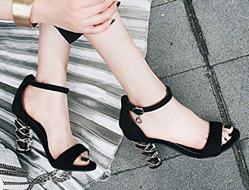 Aisun Femmes Mode Métal Boucle Ouverte Toe Robe Couverte Chunky Talons Hauts Cheville Sangle Sandales Noir