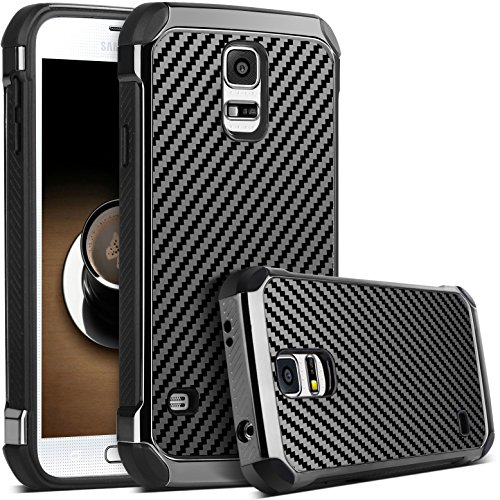 [Galaxy S5 Case, S5 Case, Samsung Galaxy S5 Case, BENTOBEN Shockproof 2 in 1 Hybrid Hard PC Cover with Carbon Fiber Texture Chrome Anti-scratch Protective Case for Samsung Galaxy S5 (i9600), Black] (Carbon Fiber Protective Cover)