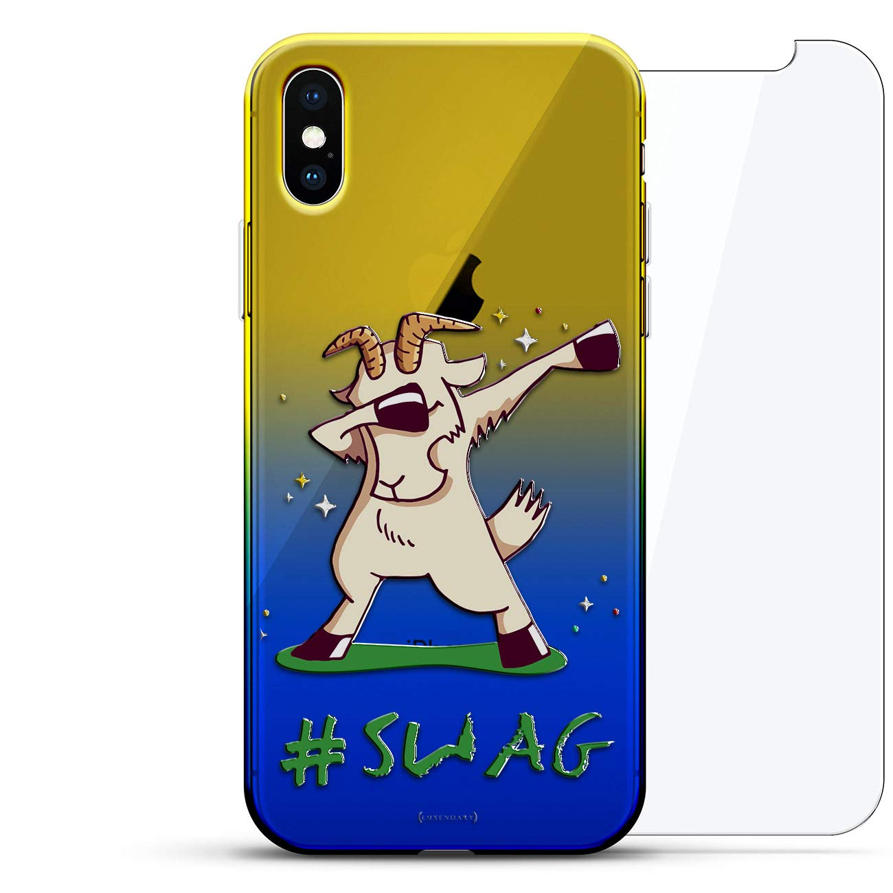 11e04096 Amazon.com: Funny: Dabbing Swag Goat | Luxendary Gradient Series 360  Bundle: Clear Ultra Thin Silicone Case + Tempered Glass for iPhone Xs Max  (6.5