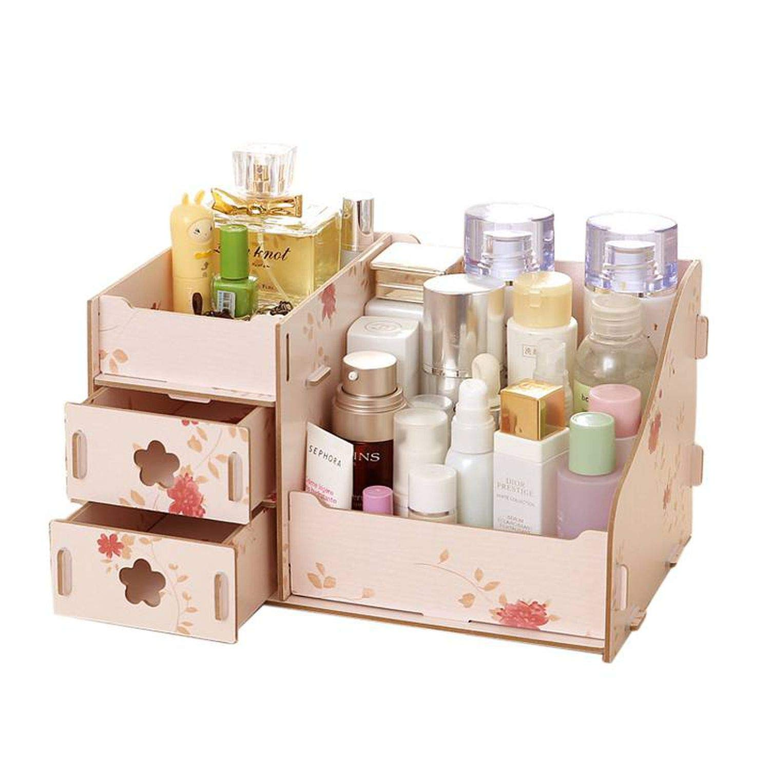 Collocation-Online Wooden Cosmetic Storage Boxes Small Drawer Jewelry Box Desktop Sundries Handmade DIY Makeup,Flower A