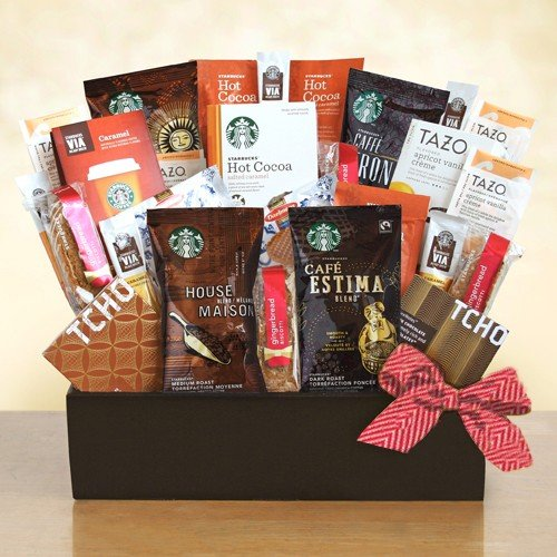 Starbucks Gift Basket | Four Coffee Blends, Tazo Tea, Via Caramel, Cocoa, Biscotti and More