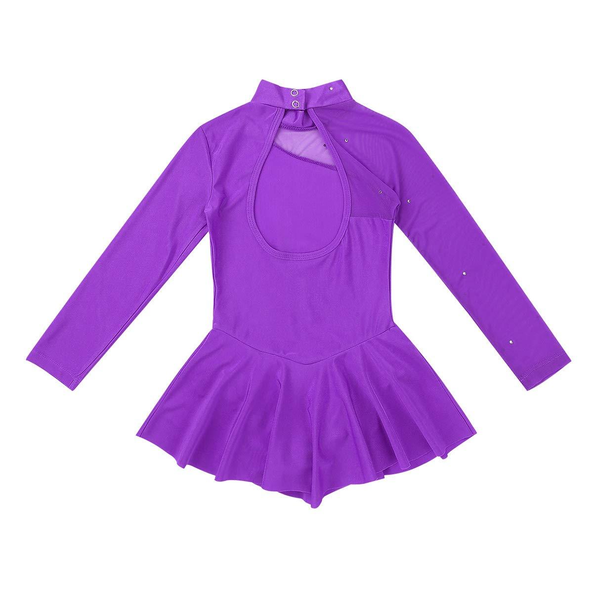 iixpin Body Pattinaggio Artistico Bambina per Gara Strass Glitter Schiena Scoperta Abito da Ballo Latino Ragazza Leotard Manica Lunga Vestito Tutu Balletto Dancewear