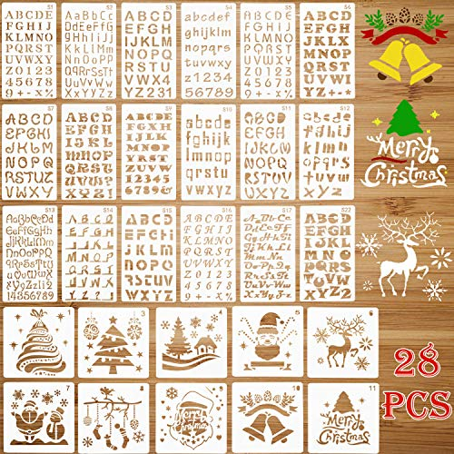 28 Pieces Letter and Number Stencils Christmas Stencils Template, Alphabet Stencils with Calligraphy Font Upper and Lowercase Letters Plastic Art Craft Stencils for Drawing Painting (Christmas Alphabet Stencils)