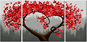 sechars - 3 Piece Wall Art for Living Room Red Flower Trees Paintings Giclee Print on Canvas Modern Wall Decorations Grey Red Wall Decor Gallery Canvas Wrapped Ready to Hang (Red)