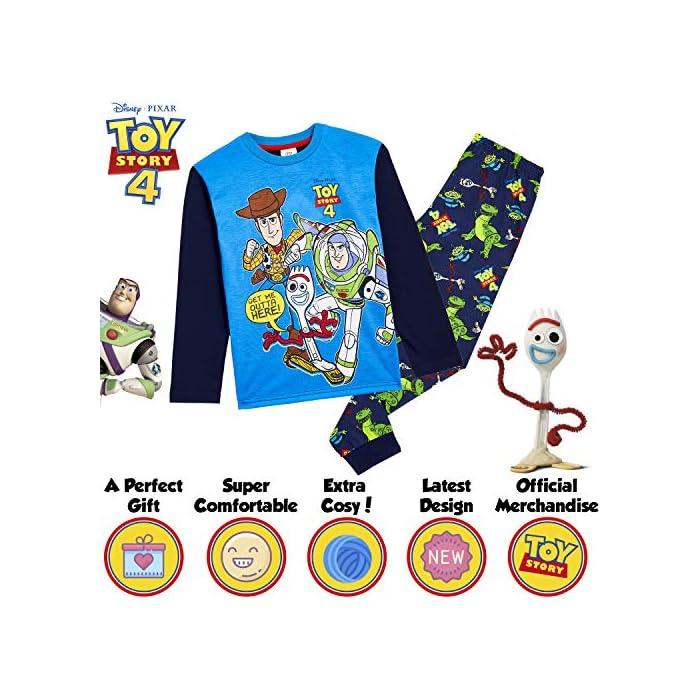 61HrpebdcFL ✔ PIJAMAS DE TOY STORY --- Este conjunto de pijama de 2 piezas viene con una camiseta azul de manga larga que presenta a tus personajes favoritos de Toy Story 4, Buzz Lightyear, Woody y Forky con pantalones largos a juego. Estos pijamas son son perfectos tanto como ropa de dormir como para estar en casa jugando. ✔ TALLAS DISPONIBLES --- Nuestros magníficos pijamas niños de Toy Story están disponibles en tallas para edades: 18/24 meses, 2/3 años, 4/5 años, 5/6 años, y 7/8 años. Pida la talla que adquiere normalmente en las tiendas y no tendrá problemas. 100% Algodón