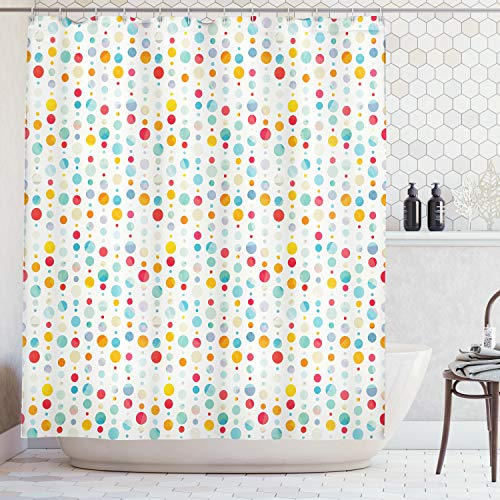 Ambesonne Abstract Shower Curtain, Colorful Circular Large Dots Bubble Happy Hipster Kids Nursery Stylish Fun Print, Fabric Bathroom Decor Set with Hooks, 70 Inches, White Teal