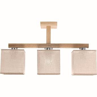 Design Decken Leuchte Buche Lampe Stoff Schirm 3flammig Eckig Wohnzimmerlampe Braun Holz