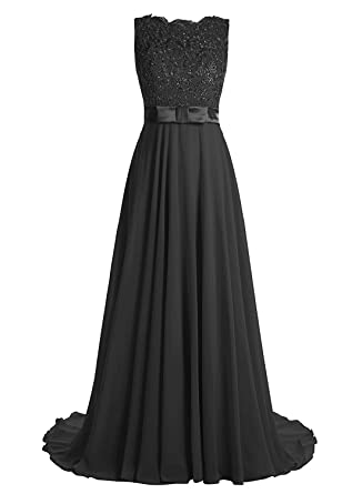 Victoria Prom Elegant Long Prom Gown Lace Bridal Dress with Flowing Chiffon Skirt Black us2
