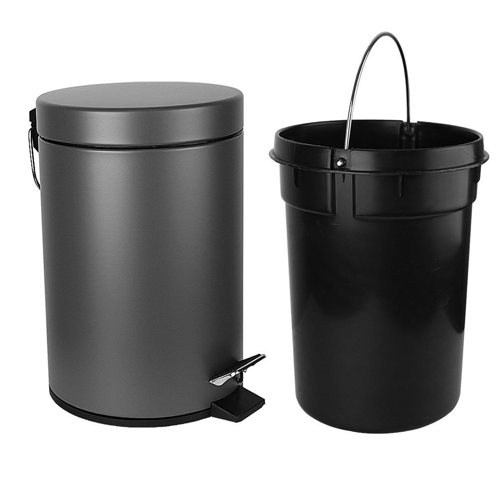 H+LUX Garbage Can, Small Round Step Trash Can with Soft Close Lid and Removable Inner Wastebasket for Bathroom Bedroom Office, Fingerprint Resistance, 1.3 Gallon/5 Liter, Gray