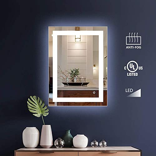 KIVA RHYME 20×28 inch Wall-Mounted Vanity Mirror, Bathroom Lighted Makeup Mirror with Dimmable Touch Screen Switch, Anti Fog Function, Hanging Vertically