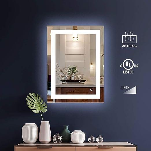 32X24 Inch Wall Mount Led Lighted Bathroom Mirror Vanity Defogger Makeup Shaving