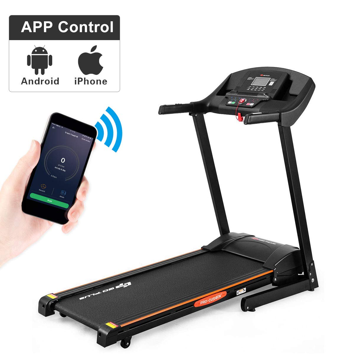 Goplus 2.5HP Electric Automatic Incline Treadmill, App Control and Large LCD Display, Foldable Jogging Walking Running…