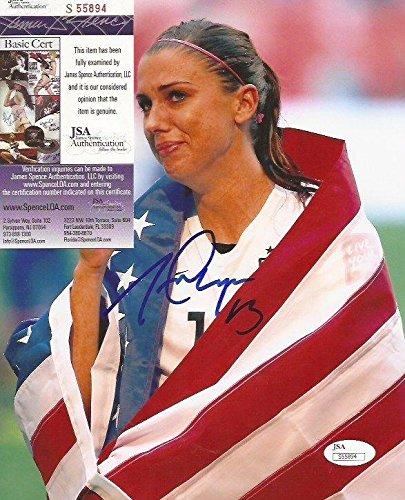 2d0230b6e Alex Morgan Team USA Women s Soccer signed 8x10 photo American Flag - JSA  Certified - Autographed