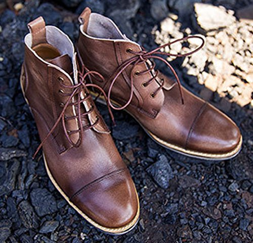 Laces Insun Leather Coffee Men's 6 Boots 5 Chukka qvtBawv