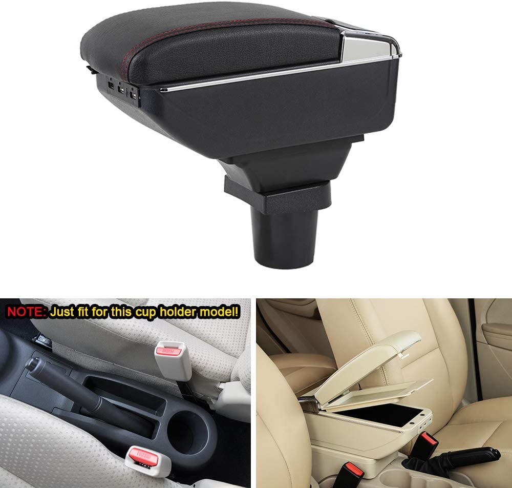 MyGone Center Console Armrest Box for Toyota Yaris 2006-2011 Car Interior Accessories Leather Arm Rest Organizer with Dual-Layer 7 USB Ports Adjustable Cup Holder Removable Ashtray Beige