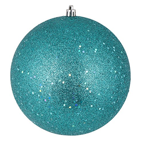 vickerman n591542dq sequin ball ornaments with shatterproof uv resistant pre drilled cap secured green floral wire in 4 per bag 6 teal - Teal Christmas Ornaments