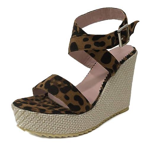 Compensé Tomwell Corde Chaussures Imprimé Femmes Suédé Léopard Lanière Sandale Talon Mode Sandales Plateforme Cuir Cheville DIEH2eW9Yb