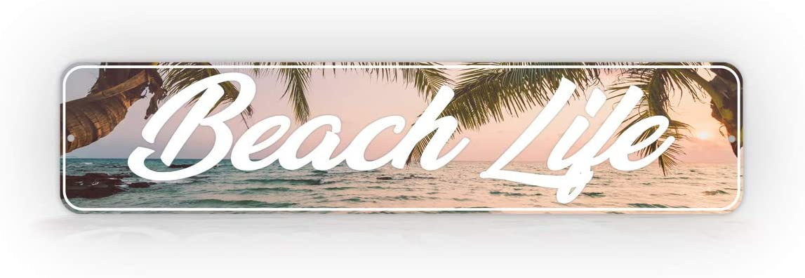 """Personalized 4"""" x 18"""" Tropical Beach Sign Custom Beach Setting Decoration Sign"""
