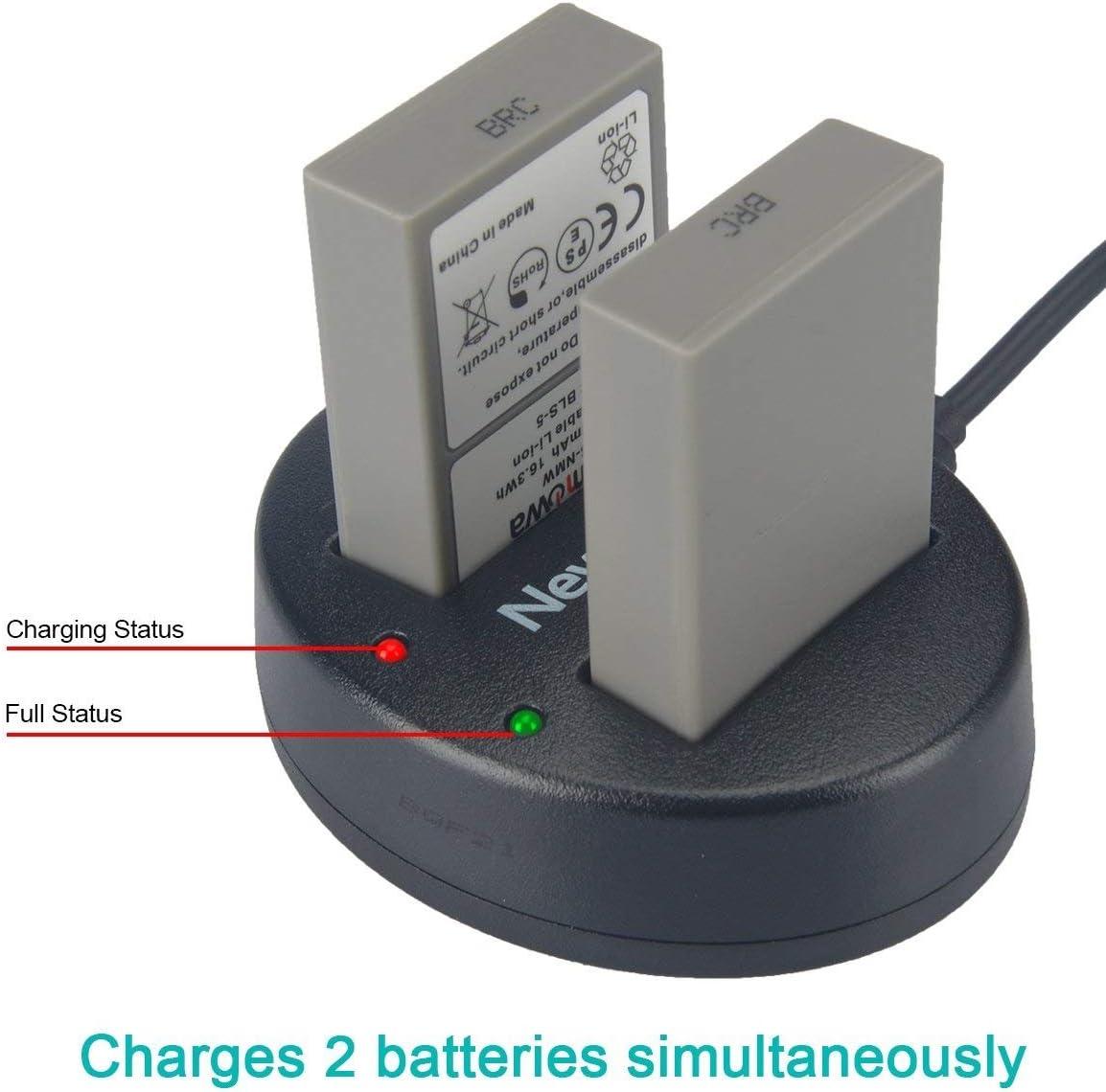 2in1 Dual USB Cargador para Olympus PS-BLS1,PS-BLS5,BLS-5,BLS-50,BLS50
