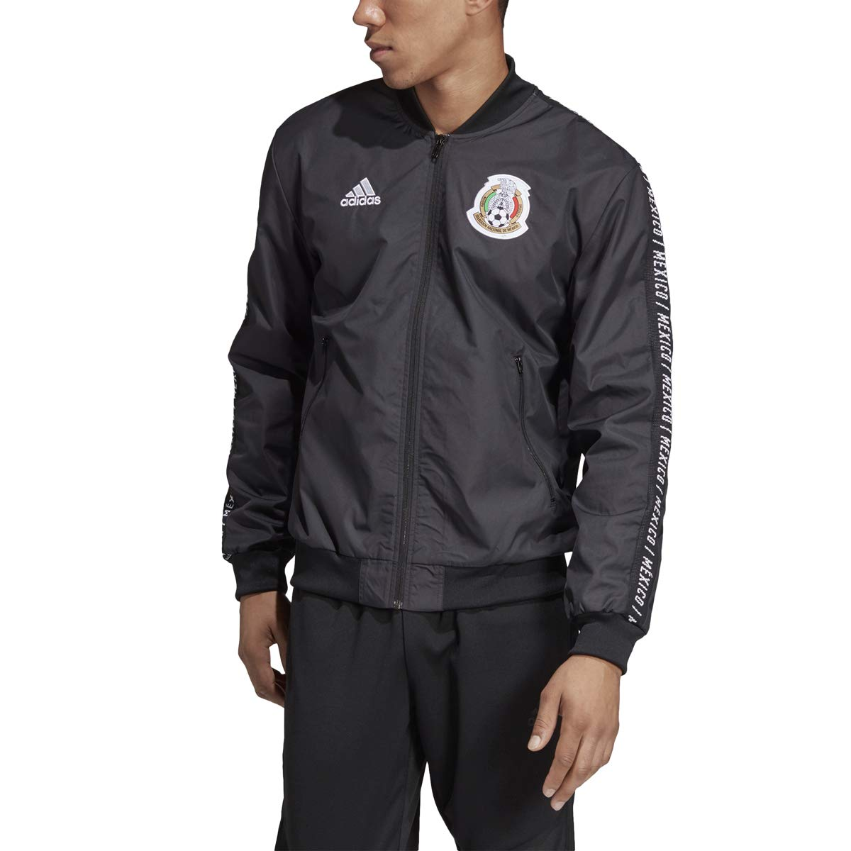 adidas Men's Soccer Mexico Anthem Jacket 2019 (S) Black/White
