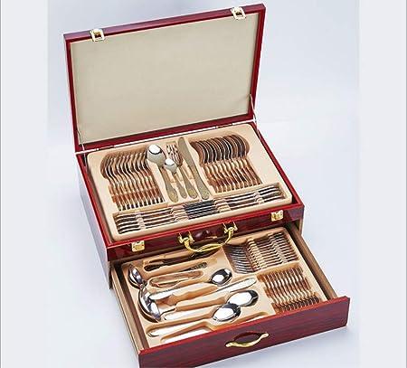 TAOYUN Acero Inoxidable Cubiertos Set Cena Bañada En Oro Premium Bistec Occidental Cubiertos Caja 72 Piezas: Amazon.es: Hogar
