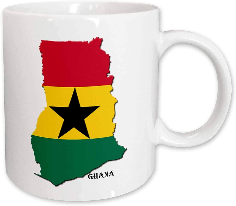 Taza de caf/é de cer/ámica para oficina y hogar 11 oz taza de cer/ámica con mapa de la bandera de Ghana color blanco