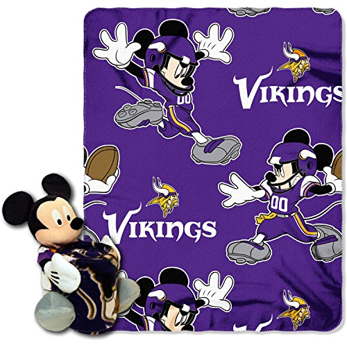 - 2 Piece NFL Vikings Throw Blanket Full Set With Disney Mickey Mouse Character Shaped Pillow, Sports Patterned Bedding Team Logo Fan Purple, Gold, White