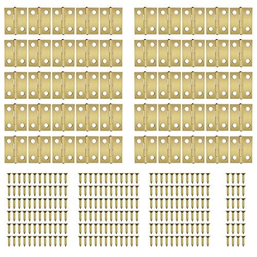 Dreamtop 60pcs Mini Cabinet Drawer Butt Hinges Connectors with 240 Pieces Replacement Brass Hinge Screws