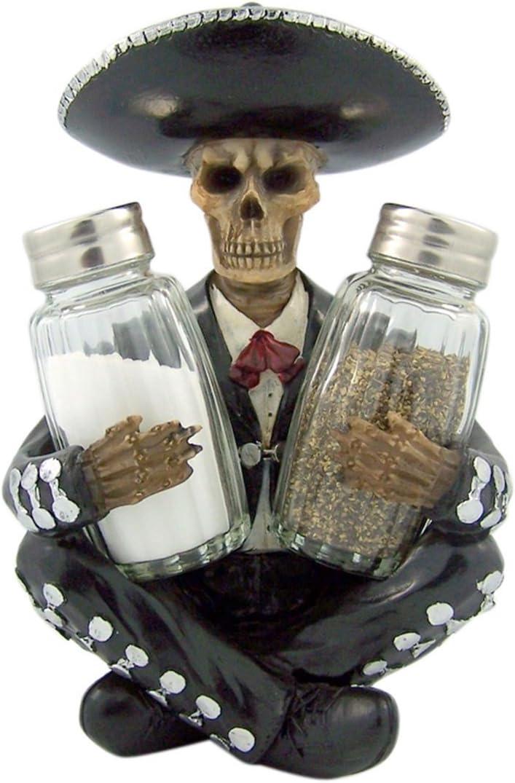 Mariachi Skeleton Glass Salt and Pepper Shaker Figurine Set, 7 Inch