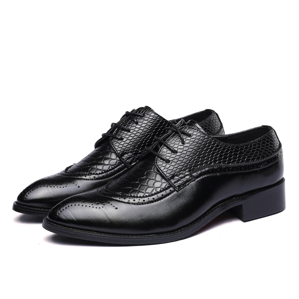 WULFUL Men's Leather Dress Oxfords Shoes Business Retro Gentleman Black 7.5-8 D(M) US