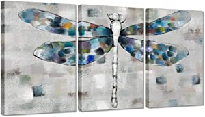 ZingArts 3 Pieces Grey Canvas Wall Art Blue Dragonfly Abstract Insect Artwork Print on Canvas Giclee Print Gallery Wrap For Bedroom Classroom Garden House Decoration Gift Ready to Hang 16x24inchx3pcs
