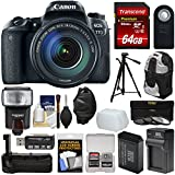Canon EOS 77D Wi-Fi Digital SLR Camera & EF-S 18-135mm is USM Lens with 64GB Card + Battery & Charger + Grip + Backpack + Filters + Tripod + Flash Kit