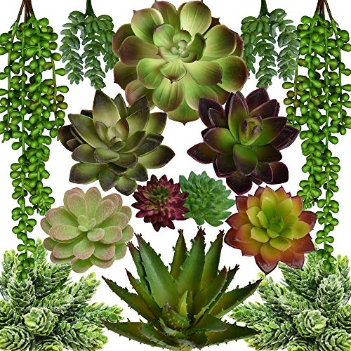 SEEKO Artificial Succulents - 14 Pack - Create Realistic Succulent Arrangements, Faux Potted Succulent Decor, and Fake Succulent Planters for Your House or Apartment (Faux Succulent)