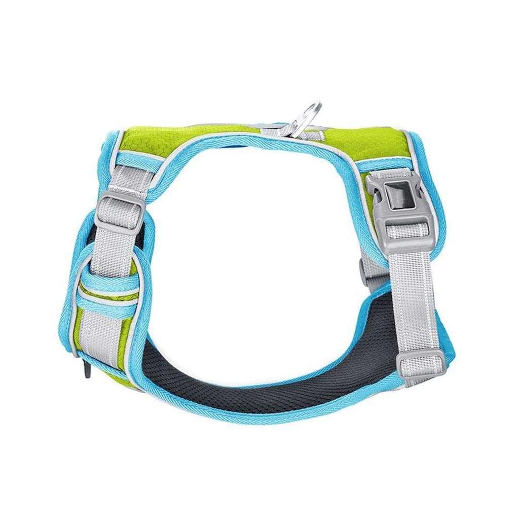 GREEN M GREEN M Dog Vest Harness, Chest Strap Outdoor Strap golden Retriever Dog Cat Clothes Leash Vest Pet Supplies for Small Medium Large Dogs (color   Green, Size   M)
