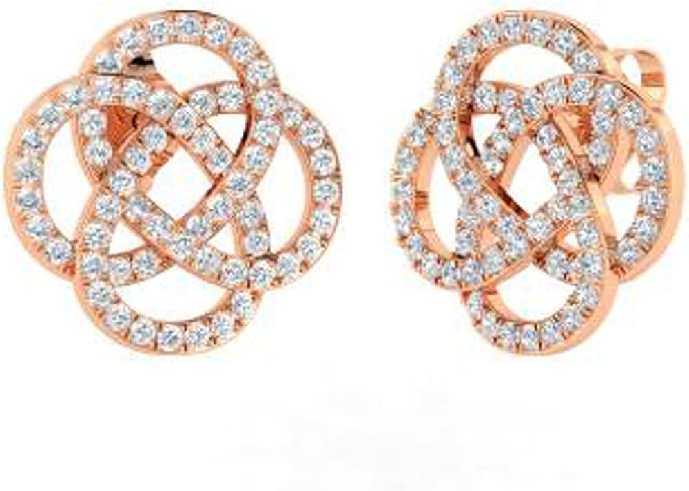 TrioStar 1.00 Ct Round Cut Diamond Pave Set 14k Rose Gold Over Stud Earrings
