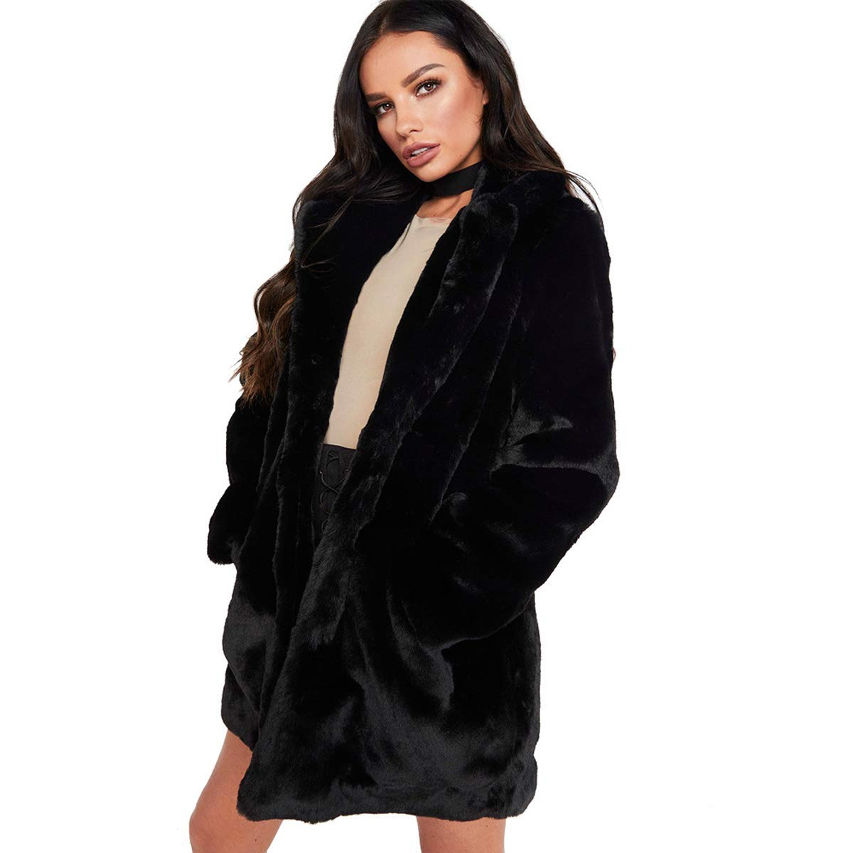 Black ZWWZ Women Faux Fur Casual Open Front Jackets Long Sleeve Warm Winter Lapel Coat Outerwear