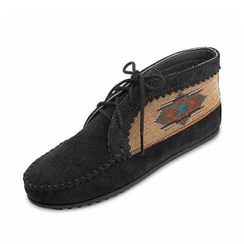 Minnetonka - Mocasines de Piel para Mujer Blk: Amazon.es: Zapatos y complementos