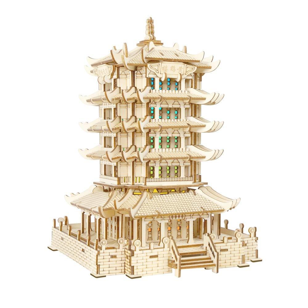 JLA Gelb Crane Tower 3D Holzblase-Puzzle, farbenfrohe Lichter, Blautooth-Lautsprecher, wiederaufladbare Lithium-Batterie (USB), Spielzeug, Accessoires