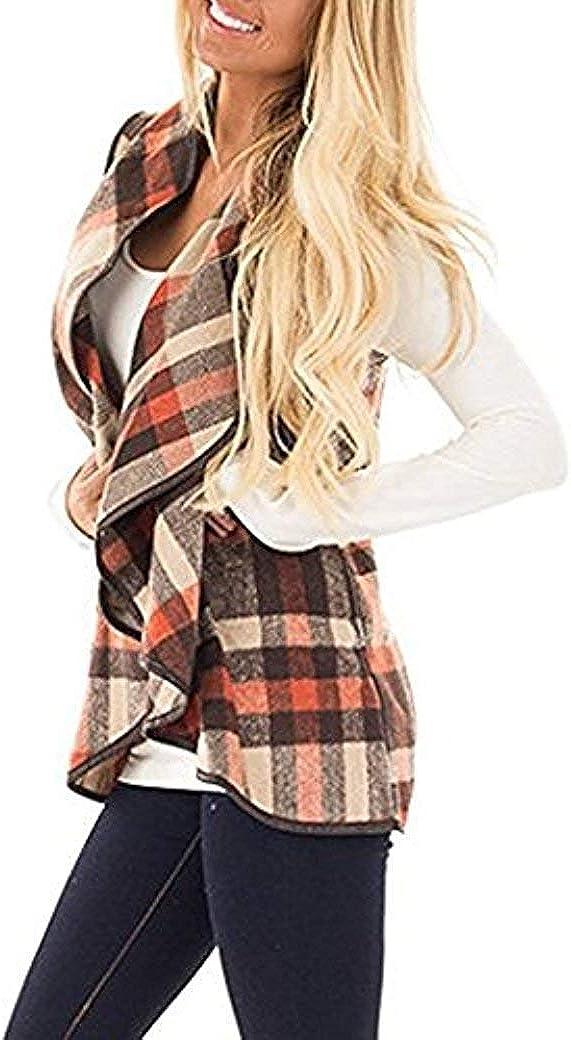AIMICO Womens Plaid Vest Drape Open Front Lapel Cardigan Coat with Pockets