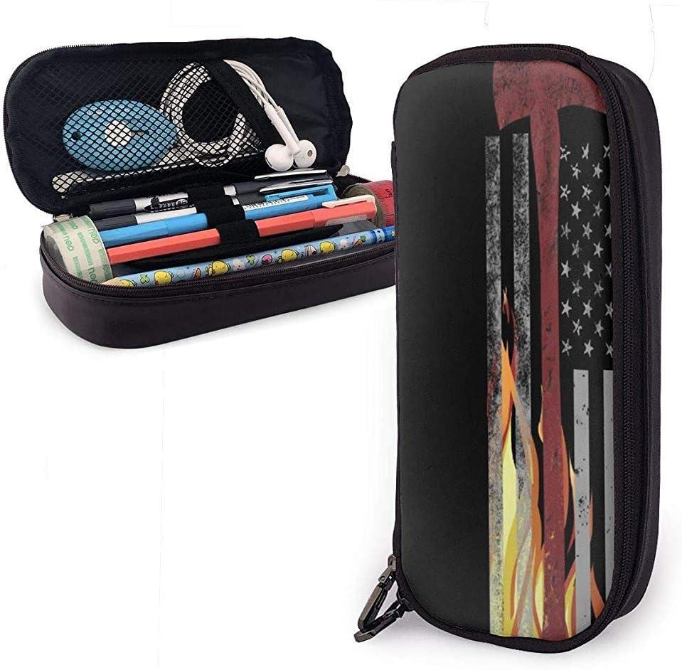 Fire Axe of America - Bolso de maquillaje con estuche de cuero de PU, estuche de lápices con estuche de cremallera: Amazon.es: Oficina y papelería