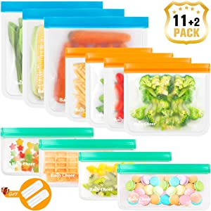 Reusable Storage Bags, 11 Pack EXTRA THICK Reusable Food Storage Bags (3 Reusable Gallon Bags + 4 Reusable Sandwich Bags + 4 Reusable Snack Bags) BPA FREE Ziplock Freezer Bags/Multicolor