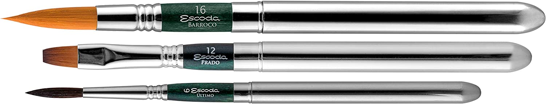 Escoda 1273 Series Green Series Synthetic Artist Watercolor Travel 3 Brush Set