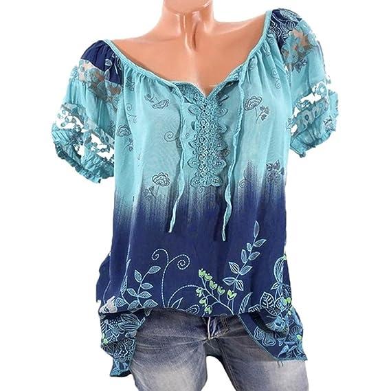 QUICKLYLY Camisas Mujer Tallas Grandes Verano Impresión Manga Corta Gradiente V-Cuello Vendaje Tops Blusa