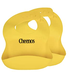 Cheerios 2 Pack Silicone Bibs for Baby & Toddler - Waterproof, Stain Resistant, Adjustable Sizing Options for Boys & Girls - Protective Food Catcher for Eating & Easy Clean-Up - BPA Free