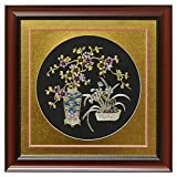China Furniture Online Silk Embroidery Frame, Gold Cherry Blossom and Orchid Motif on Black Background