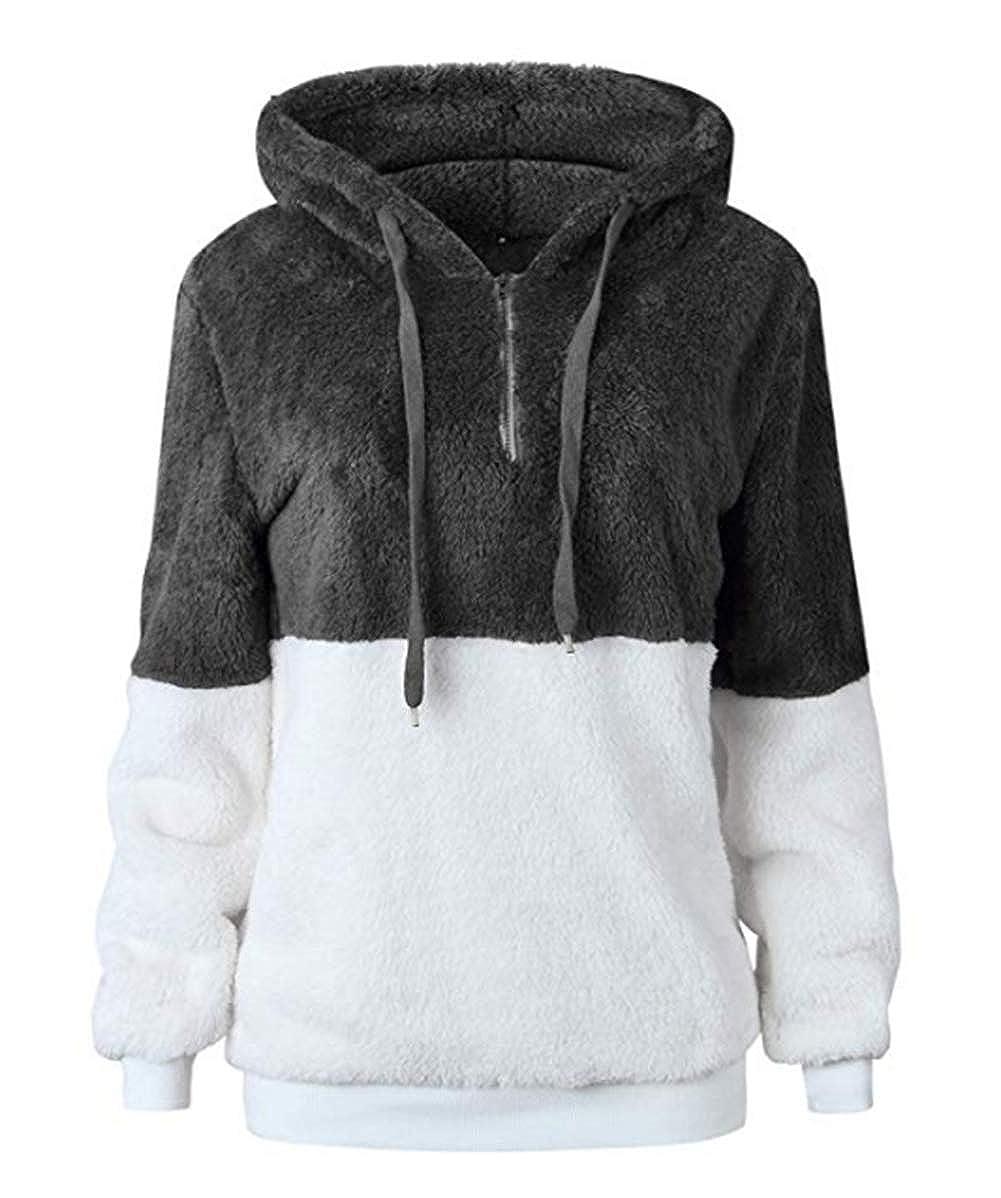 Dokotoo Sweat Femme Sweater à Capuche Pull Chaud Sweat-Shirt en Polaire Hoodie Zippé avec Poches Automne Hiver W-gris Foncé